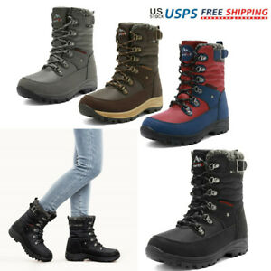 Women Winter Faux Fur Lined Warm Snow Boots Mid Calf Lace Up Boots Size 6 12 $35.52