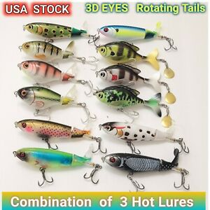 LuresDeals 3 Hot Whopper Popper Model Water Top Baits Rotating Tail Bass Trout