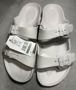 NWT Time And Tru Womens Rubber 2 Strap Beach Sandal Sz 9 10 Buckle Casual