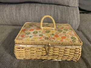 Vintage Dritz Sewing Basket Box 1950s 1960s Wicker Japan Yellow Floral See Pics $19.99