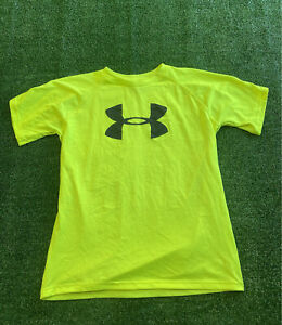 youth neon under armour logo athletic heat gear t shirt boys size large C1 $10.95