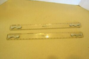 2 VINTAGE K amp; E 18 1 2quot; DRAFTING MACHINE SCALE RULER 1376T 1 1376T 2 $40.00