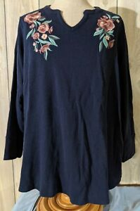 Denim Co. Floral Embroidered Waffle Weave Thermal Shirt 3X blue $15.99