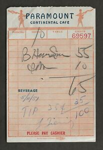 1951 LAWRENCE TIERNEY ORIGINAL SIGNED PARAMOUNT CAFE TICKET $45.00