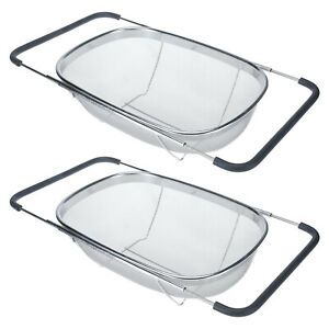2 Pack Over the Sink Strainer Oval Colander with Rubber Grip Handles