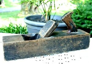 Antique Wood Plane Collectible Hand Tool Solid Wood Handmade 2 Stamped Names $27.00