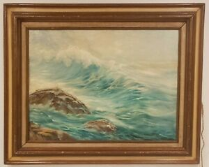 Oil on Canvas Waves Seascape Signed Dotti Brokaw NY Artist 26quot; x 32quot; $89.95