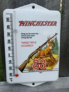 Vintage Style Winchester Rifle Ammunition Hunting Porcelain Thermometer Sign $70.00