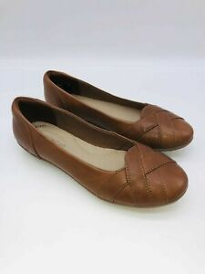 Clarks Collection Womens Gracelin Mia Leather Woven Ballet Flats TAN US 8.5M $24.99