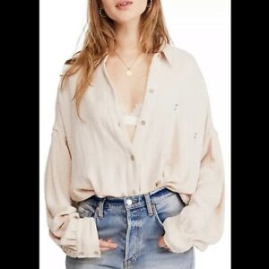 Free People Cream Solid Hidden Valley Button Down Oversized Shirt Womens Small $58.00