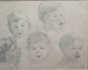 Painting Antique Portraits Of Children Signed France Beginning Century Drawing $95.73