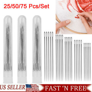 25 75x Large Eye Hand Sewing Needles 5 Size for Stitching Leather Craft Projects $5.99