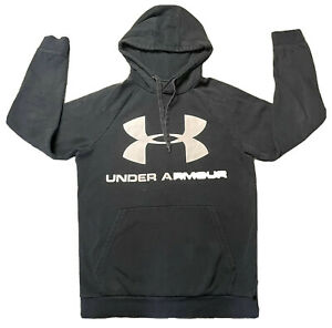 Under Armour Logo Mens Black Hooded Sweatshirt Size S Small $15.00