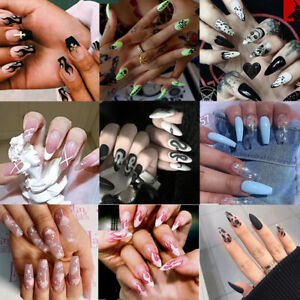 Fake Nails Press on Tips False With Snake Flame Full Cover Coffin Display Decor