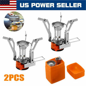 2XPortable Camping Stoves Backpacking Stove with Piezo Ignition Adjustable Valve