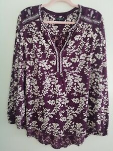 Lucky Brand Long Sleeve Tunic XL with Beautiful Accents