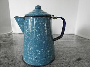 VINTAGE BLUE SPECKLED ENAMEL METAL SMALL CAMPING COFFEE POT 8 .5quot; TALL
