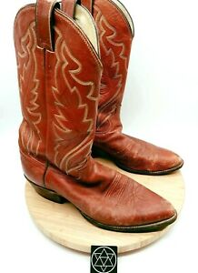 Vintage Justin Boots Mens 1967 Brown Pull On Block Heel Western Boots Sz 11 D