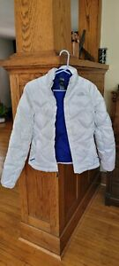 The North Face quilted puffer white 550 down jacket coat womens XS $45.00