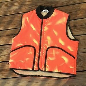 Woolrich Mens Hunting Vest Insulated Sherpa Lined Blaze Orange Size Large