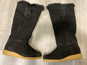 Lands End Womens Boots Mendota Tall Boot Black Suede Faux Fur 6