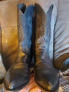 Justin Boots Ladies Black Leather Cowboy Boots womens Size 8.5B Style L4200 GUC
