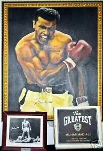 *MUHAMMAD ALI*- AUTOGRAPHED OIL PAINTING & FOSSIL WATCH