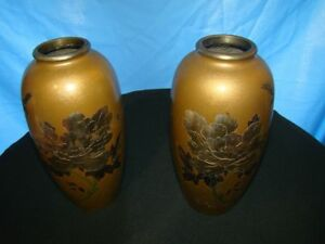 Japanese Pair of Vases Bronze circa 1920 meiji period metal oriental japan