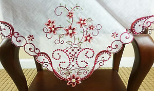 Embroidered shining Pieces Dark Red 36quot; Square Embroidery Tablecloth