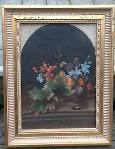 Charming 19th Century Floral & Fruit Still Life Painting Unsigned 14 x 10 in.