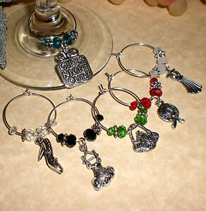 Set of 6 NEW Wine Glass Charms - Girls Night Out ~ Packaged for Great Gift Idea!
