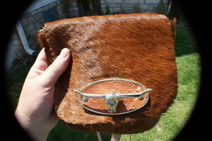Beautiful Cow hide leather bag w hair-on possibles bag rendezvous pow wow purse