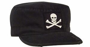 Vintage Fatigue Jolly Roger Pirate Hat Black Skull & Bones Biker Goth Cap