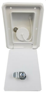 rv trailer Polar White Gravity Water Hatch Fill Dish Lockable Plastic A6102
