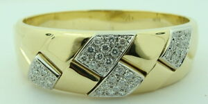 Ladies Leo Pizzo Designer 18K Yellow Gold Diamond Bangle Bracelet aprox 2.20 cts