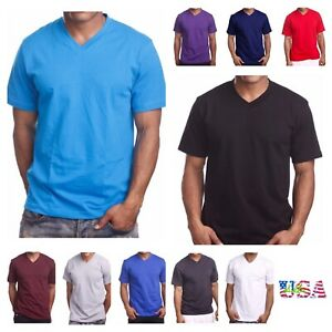 Men's T Shirt HEAVY WEIGHT Plain V Neck BIG AND TALL Hipster GYM Casual Tee $9.99