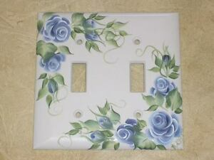 hp Shabby Sweet BLUE Rose Double Switch plate cover*