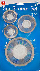 New Set of 4 - Tub/Sink Mesh Strainer - Stainless Steel * US FREE SHIPPING *