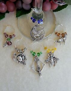 6 Wine Glass Charms Inspired by Hunger Games, Catching Fire, Mockingjay, Trilogy