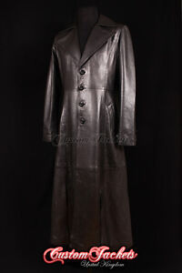 Men's DRACULA Black Lambskin LARGE COLLAR Full-Length Leather Long Jacket Coat
