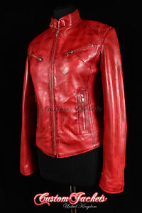 Ladies RUSH Red Washed Motorcycle Cool Biker Girls Fitted Real Leather Jacket