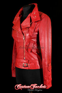 Ladies COSMOPOLITAN Red Designer Rock Fashion Girls Real Leather Jacket 4110