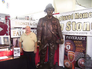 8 FOOT 6 INCHES - MONUMENTAL SIZE - BRONZE FIREMEN STATUE - LOST WAX