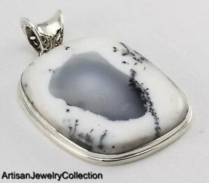 DENDRITIC OPAL PENDANT 925 STERLING SILVER ARTISAN JEWELRY COLLECTION Y105B