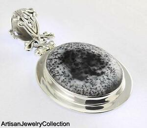 DENDRITIC OPAL PENDANT 925 STERLING SILVER ARTISAN JEWELRY COLLECTION H133