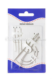PACK OF 7 REPAIR NEEDLES POLISHED STEEL INCLUDES CURVED NEEDLES TOO N44 GBP 4.61