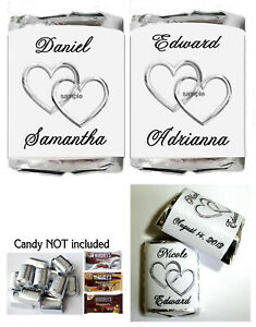 300 SILVER WEDDING FAVORS LINKING HEARTS CANDY WRAPPERS FAVORS
