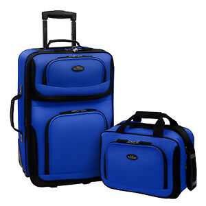 US Traveler Blue Rio 2pc Carry on Lightweight Expandable Rolling Luggage Bag Set