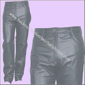 Ladies Womens Black Soft Leather Five 5 pocket jeans zip fly Sizes 2 18