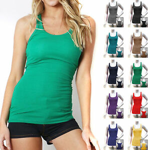 COTTON RIBBED RACERBACK TANK TOP Womens Stretch Long Workout Fitness Sport Yoga $8.95